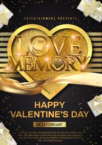 valentine golden card A4 template