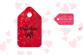 valentine label Etykieta template