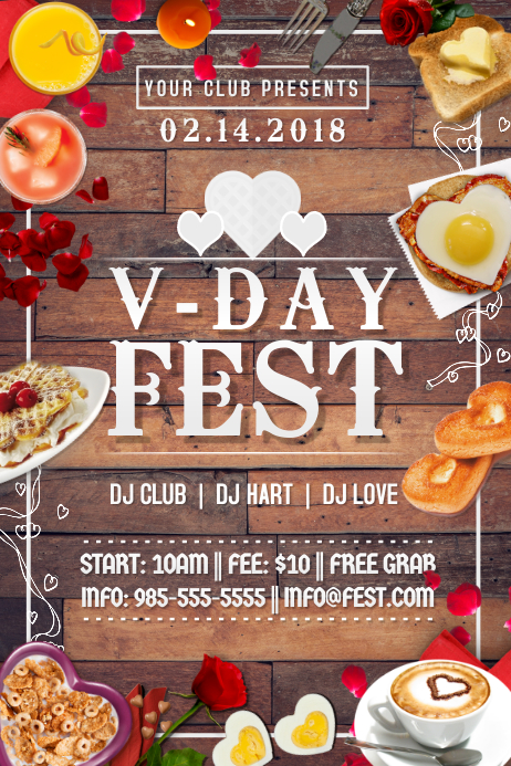 Valentine Love Romance Breakfast Hearts VDay Date Brunch Poster template