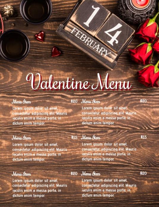 Valentine Menu 传单(美国信函) template