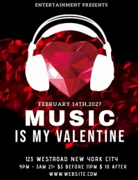 VALENTINE MUSIC PARTY AD Flyer Template
