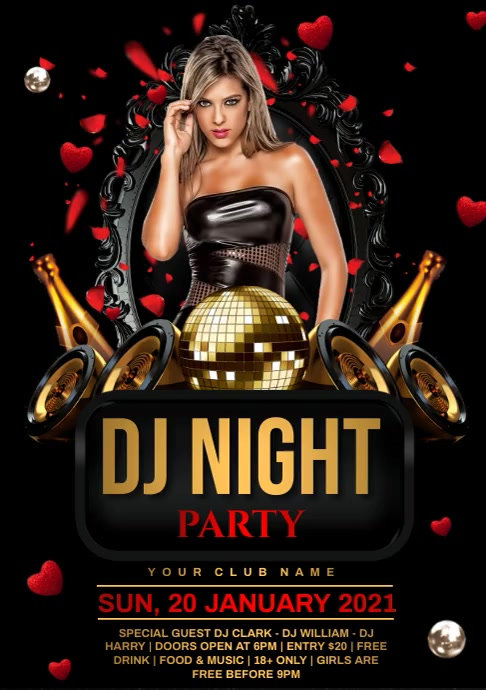 Dj night party A4 template