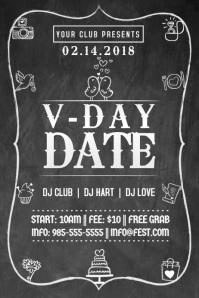 Valentine Romantic Hearts V-Day Retail Ad Chalk Board Date