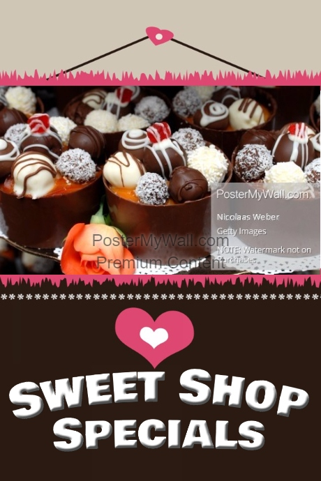 Valentine's Chocolate Shop Sales Flyer Small Business Poster
