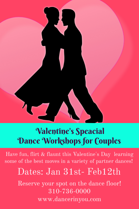 valentine u0026 39 s dance workshop poster template