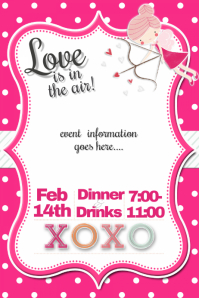 Customizable design templates for valentines party invitation valentines day cupid party event flyer invitation dinner stopboris Image collections