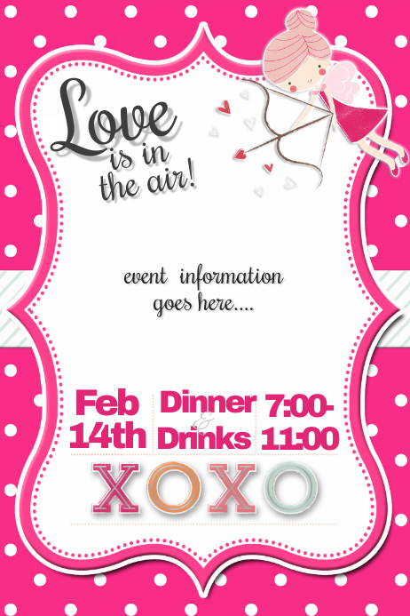 Valentine's Day Cupid Party Event Flyer Invitation Dinner