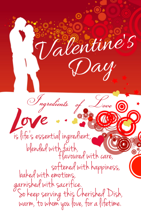 Valentine's Day Hearts Couple Marriage Love Red Poem Anniversary Ad Flyer Poster Gift