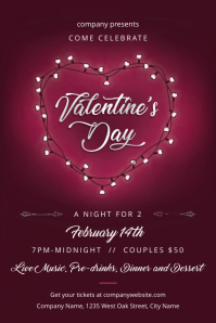 Valentine's Day Night for 2 Poster template