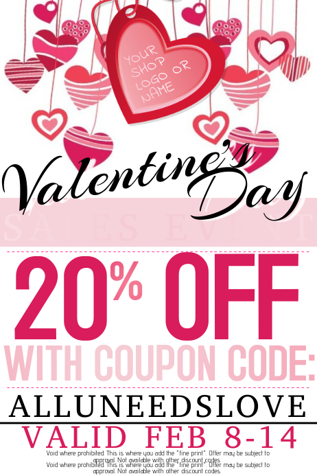 Valentine's Day Romance Retail Love Hearts Tags Event Party
