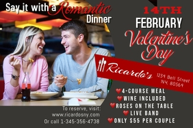 Valentine's Day Romantic Meal Flyer Poster Template