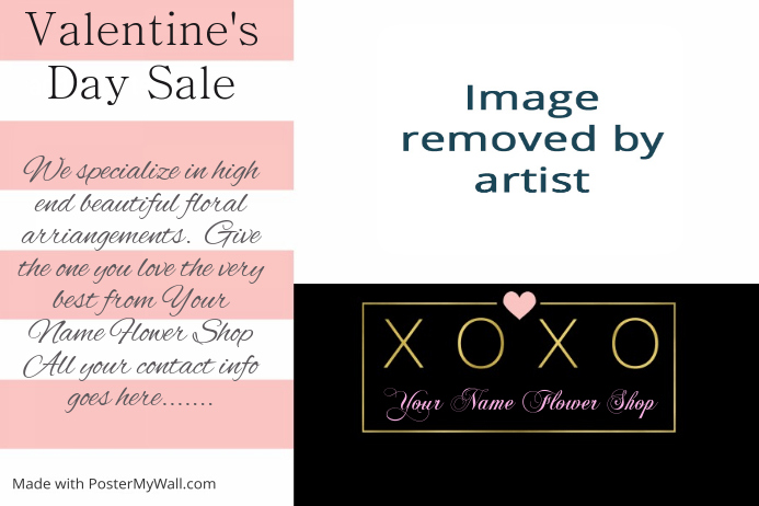 Valentine's Flower Sale Party Collage Flyer Template
