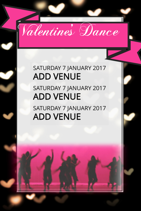 valentines heart dance concert invitation flyer template
