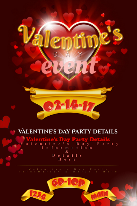 Valentine's Love Event Heart Party Retail Holiday St. Gold