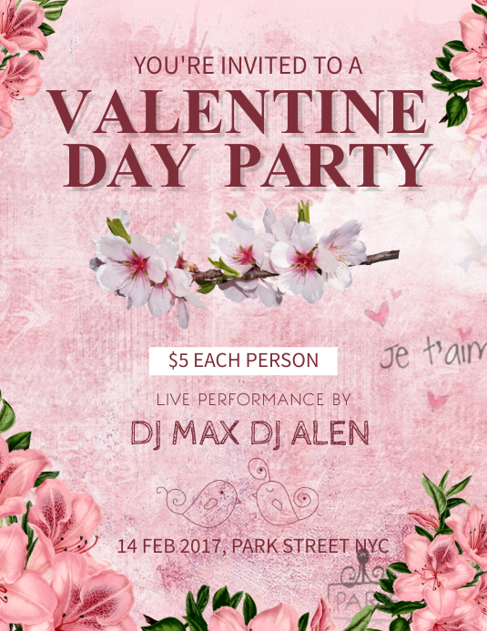 Valentine's Party Floral Flyer Template