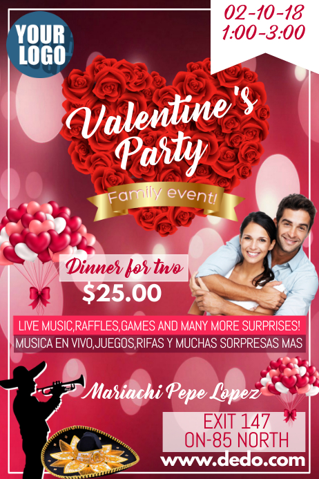 Valentine's Party Póster template