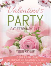 Valentine's Pink Party Flyer template