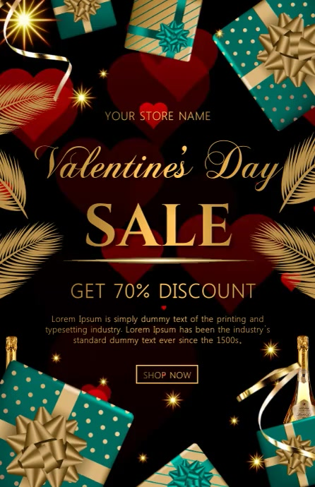 valentine sale video Tablóide template