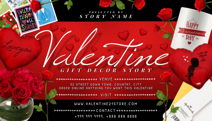 Valentine Story 2021 Business Card Template
