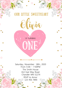 Valentine sweetheart birthday invitation A6 template