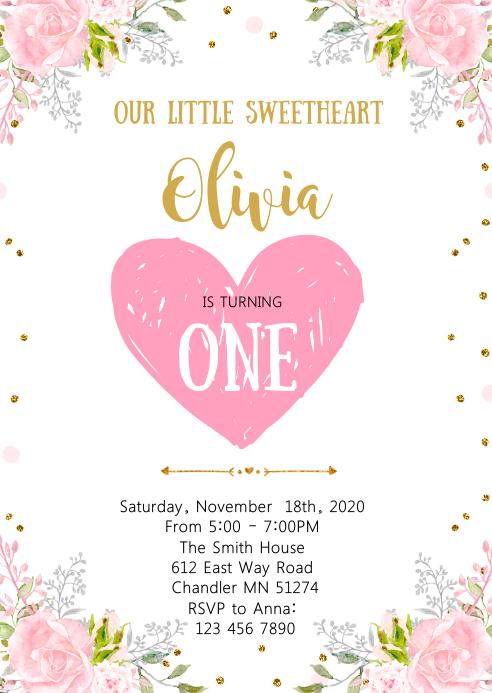 Valentine sweetheart birthday invitation A6 template