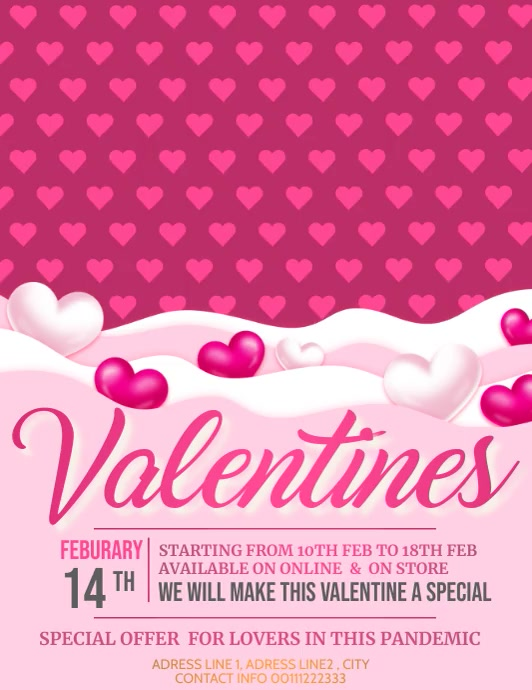 Valentines ,Happy valentines Pamflet (VSA Brief) template