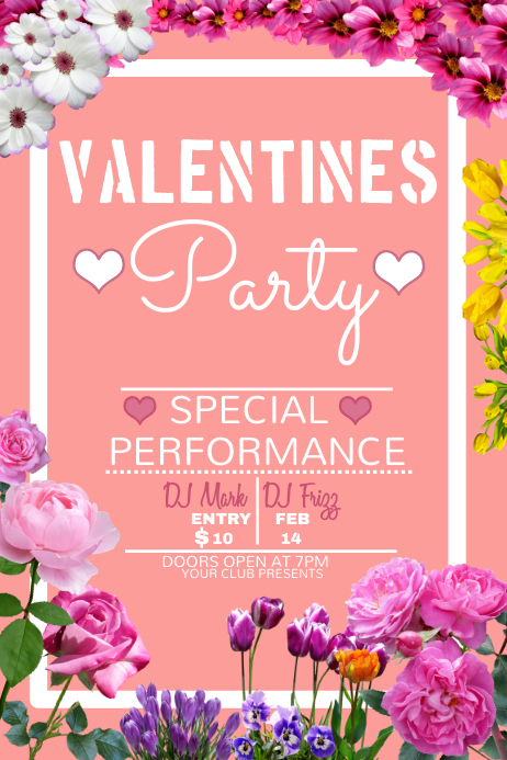 valentines poster template, valentine party poster template