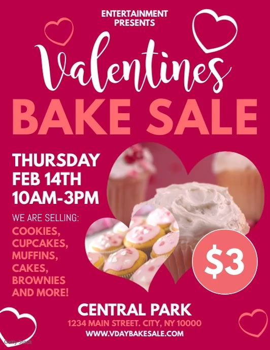 Valentines Bake Sale Volante (Carta US) template