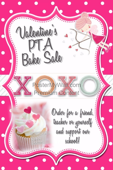 valentines bake sale pta fundraiser party template flyer