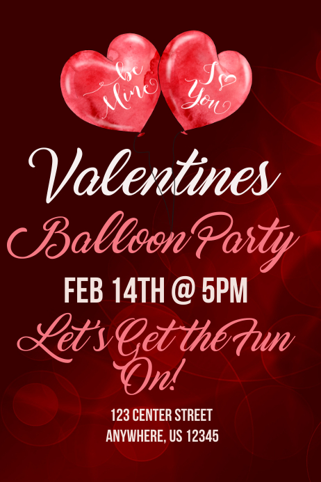 valentines balloon party template postermywall