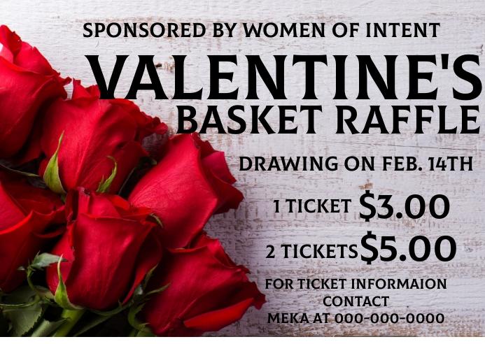 Valentines Basket Raffle Briefkaart template