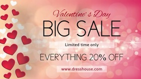 Valentines Big Sale Digital Display Template Digitale Vertoning (16:9)