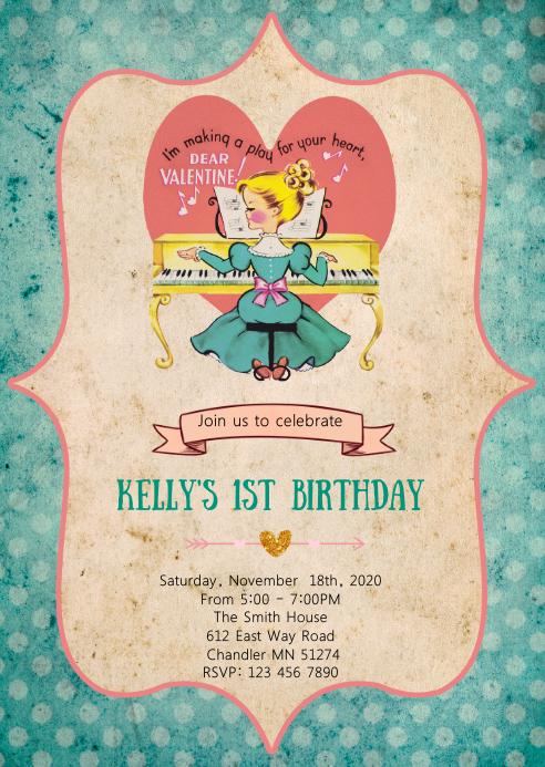 Valentines birthday party Invitation