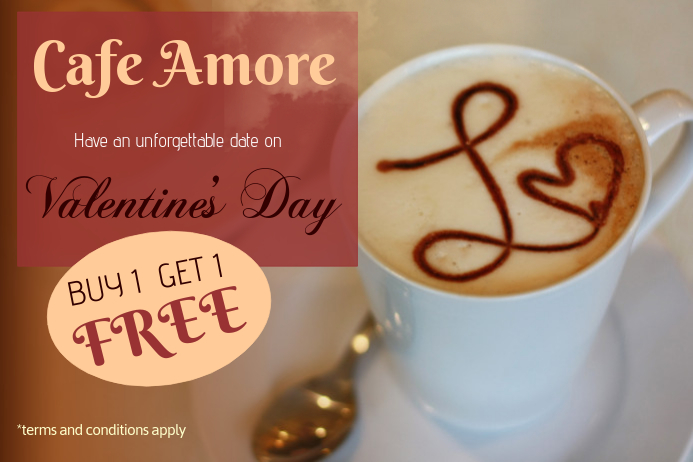 Valentines Cafe Discount Flyer Template