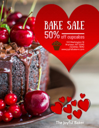 Valentines Cake Shop Bake Sale Flyer