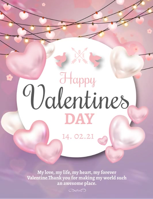 Valentines cards, love ,romantic Pamflet (Letter AS) template