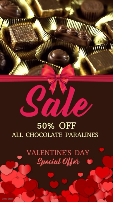 Valentines Chocolate Sale Video Template Digitale display (9:16)