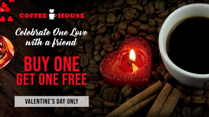Valentines Coffee Cafe Sale Digital Display Template