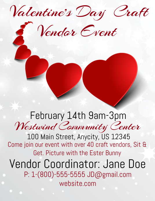 Valentines Craft Vendor Event Template Postermywall