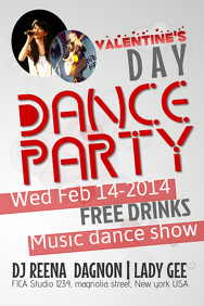 Valentines Dance Party Poster Template