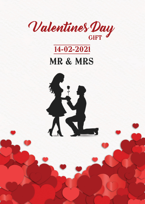 Valentines Day Card A6 template