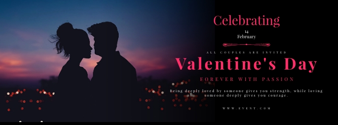 Valentines Day Celebration Party Flyer Foto Sampul Facebook template