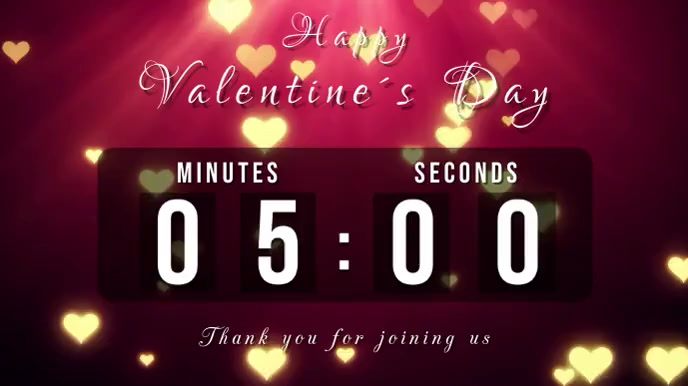 valentines day countdown Pantalla Digital (16:9) template