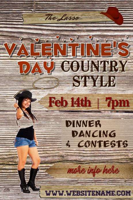 Valentines Day Country Style Poster Template