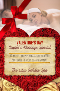 Valentines Day Couples Massage Spa Special Flyer Ad