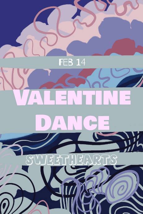 Valentines Day Dance poster Póster template