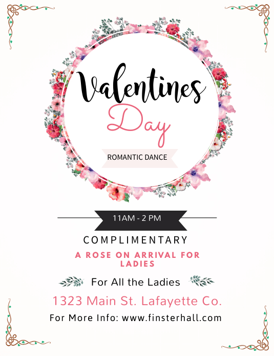 Valentines Day Dance Flyer Template
