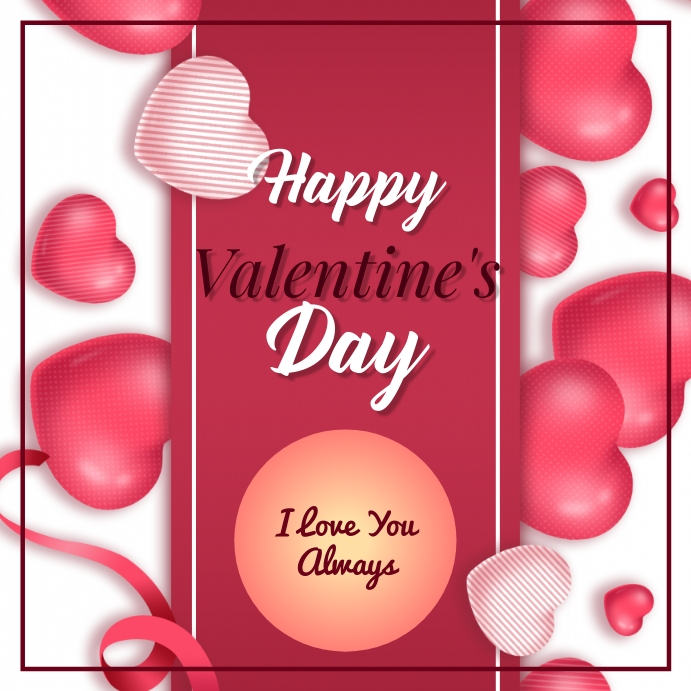 Valentines Day โพสต์บน Instagram template