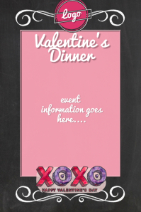 Valentines Day dinner dance fundraiser sale menu love Cartaz template