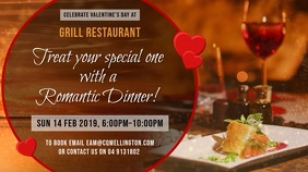 Valentines Day Dinner Deal Digital Display Template Ekran reklamowy (16:9)